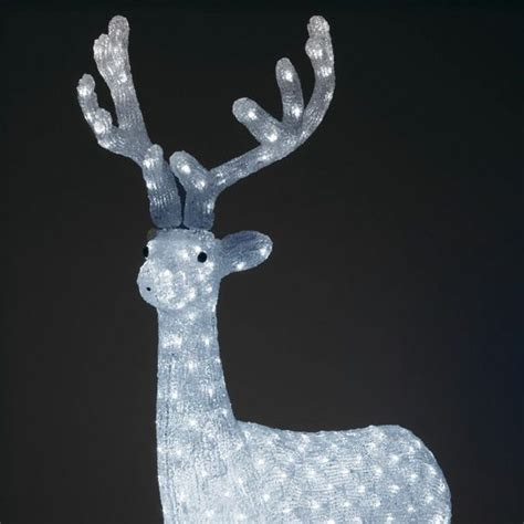 decoration noel renne lumineux renne lumineux majestueux blanc froid 380 led silhouette