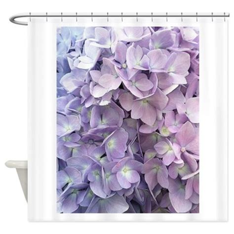 purple hydrangea shower curtain by outsidethelinesdesigns