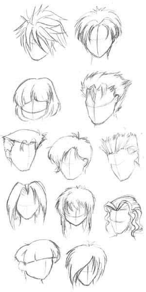 Learn how to draw male anime hairstyles pictures using these outlines or print just for coloring. TUTO | Hair sketch, How to draw hair, Manga hair