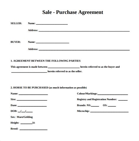 purchase agreement    documents   word