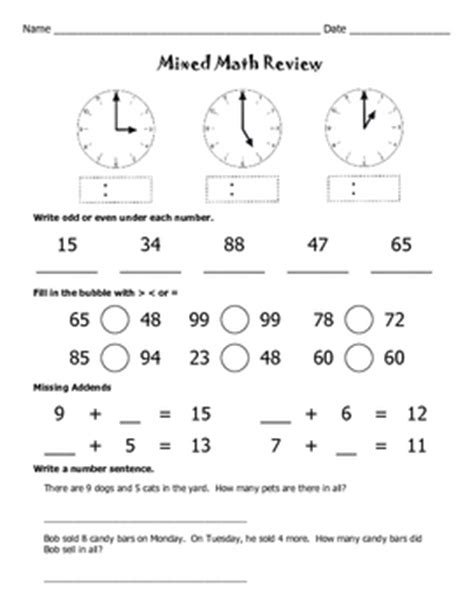 mixed math review worksheets math worksheets by