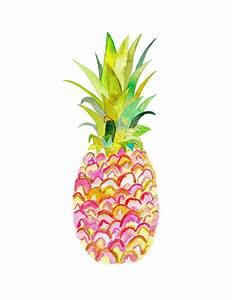 Pink Pineapple Watercolor Print. Pineapple by SnoogsAndWilde