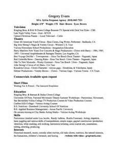 talent agency resume exles talent resume