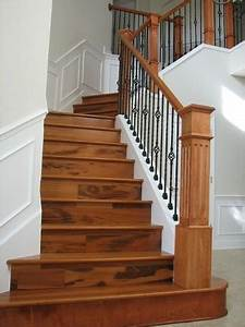 new wood staircase,was carpet - Tropical - Staircase