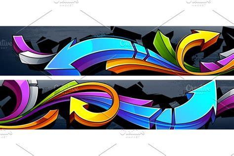 vector graffiti banners illustrations creative market