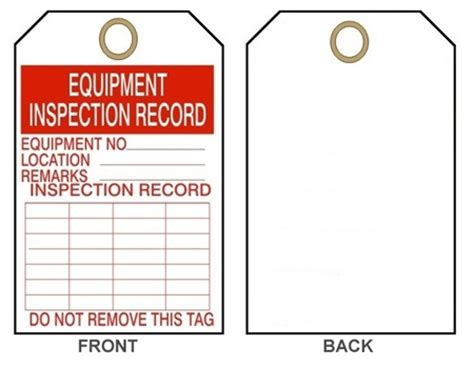 equipment inspection tags pack