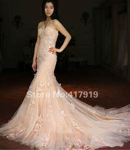 popular champagne colored mermaid wedding dresses buy With champagne color wedding dress