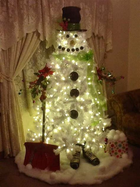 diy white christmas tree snowman diy craft projects