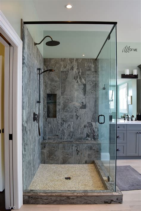 Grey Bathroom Fixtures by Master Bathroom With Grey Shaker Vanity Porcelain Tile
