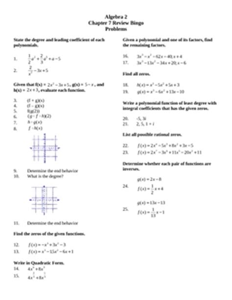holt algebra 2 chapter 7 test form a answers algebra 2 glencoe chapter 7 review bingo by lexie tpt