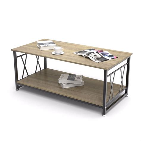 Square coffee table with drawer storage: Dewel Coffee Table with Storage Shelf Industrial Modern Rustic 47 inch Coffee Table for Living ...