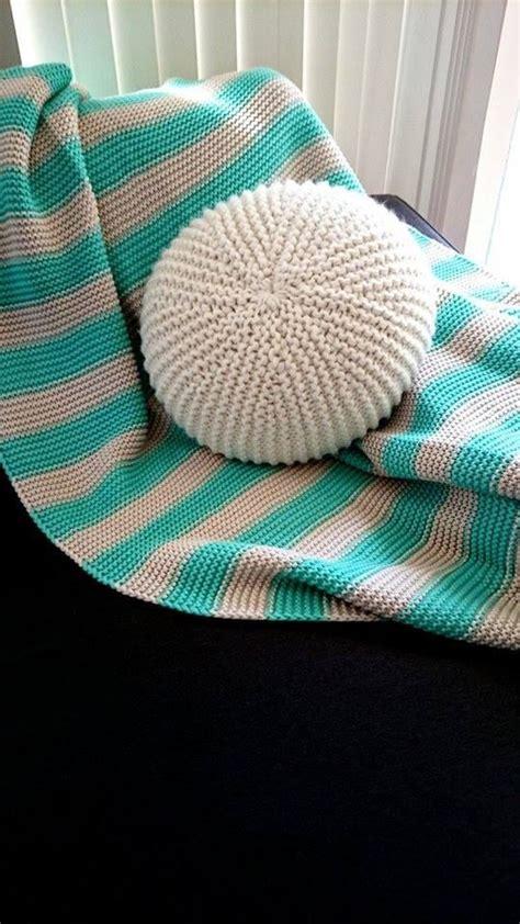 handmade knitted  throw pillow pouf crochet