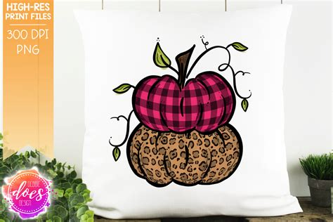pink plaid leopard stacked pumpkins printable