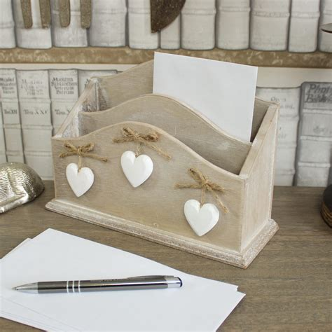shabby chic letter rack wooden letter rack hanging hearts post holder storage home shabby vintage chic