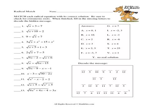 Worksheet Radicals Worksheets Worksheet Fun Worksheet