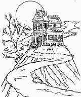 Coloring Haunted Cartoon sketch template