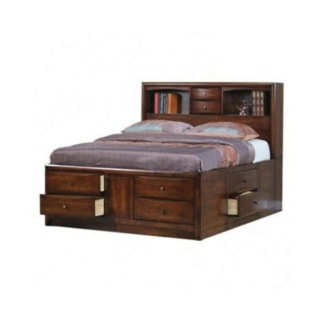 king size storage bed bookcase headboard drawers