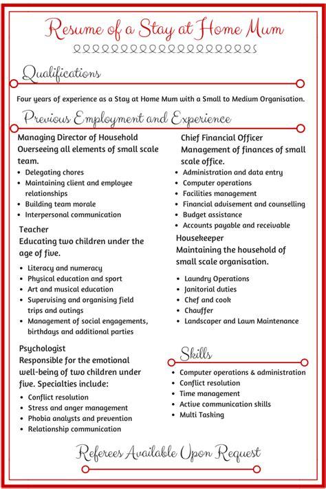 resume   stay  home mum  job resume work
