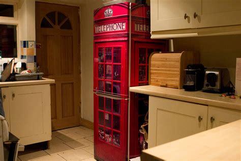 fridgewrap red uk telephone box vinyl cover  refrigerator
