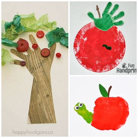19 easy and adorable handprint crafts for fall happy 600 | handprint apple crafts