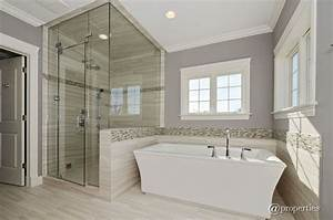 contemporary master bathroom with freestanding bathtub With high ceiling bathroom ideas