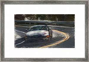 5 Aston Martin Db9 Gt Draw Carstoon Concept Print Framed