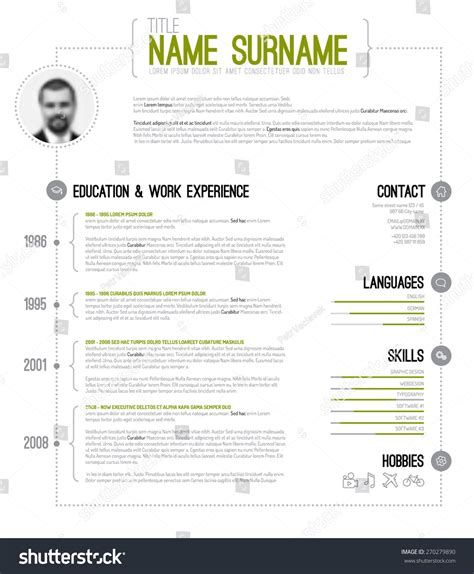 Html Version Of My Resume by Vector Minimalist Cv Resume Template Timeline Stock Vector