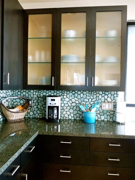 Curved Glass Kitchen Cabinet Shelves With Light Brown
