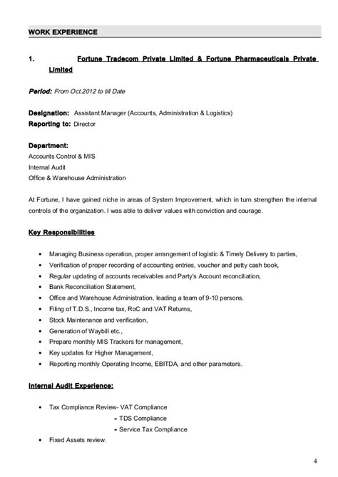 Company Articleship Resume by Amit Cv Ca Inter With Cover Letter