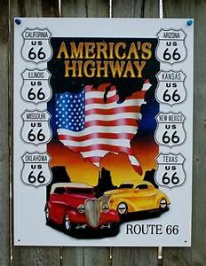 Garage Route 66 : route 66 america 39 s highway tin sign hot rod mancave garage texas arizona cal 23 ebay ~ Medecine-chirurgie-esthetiques.com Avis de Voitures
