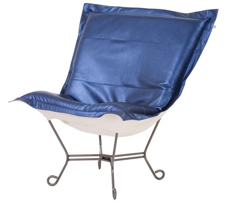 chicago textile puff chair shimmer sapphire