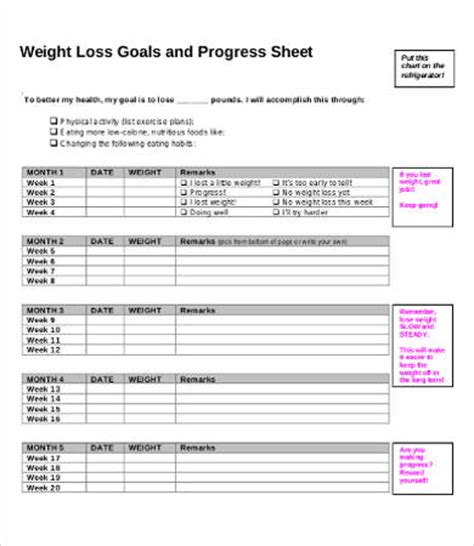 weekly weight loss chart template  premium templates