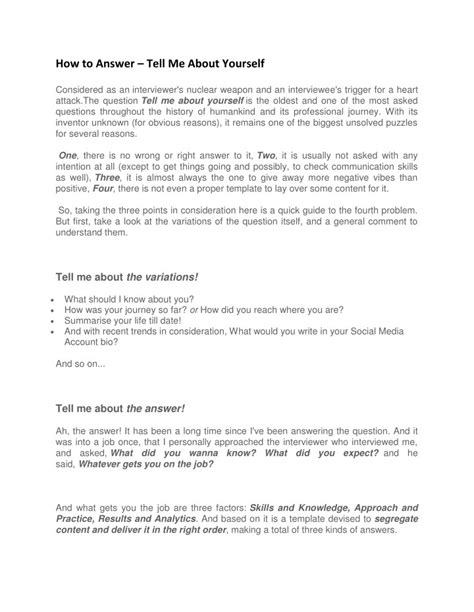 ppt how to prepare tell me about yourself interview question powerpoint presentation id 7708101