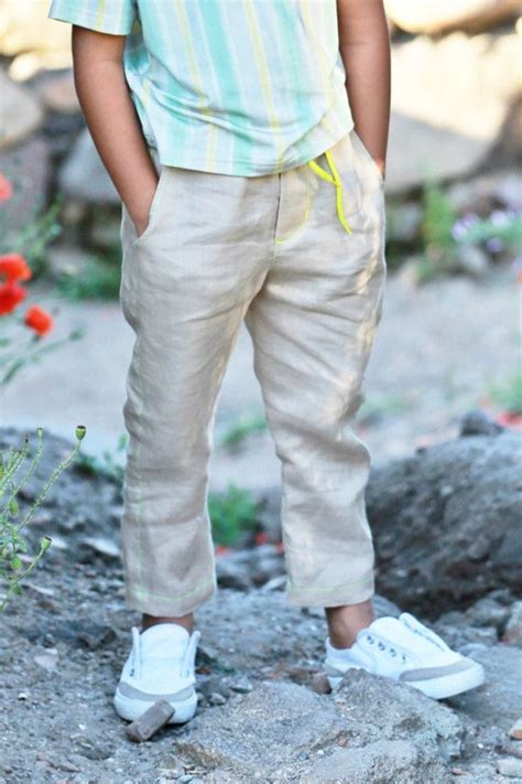 Long linen trousers for kids/Boys khaki pants/Girls chino pants/Cute summer outfit/Long linen ...
