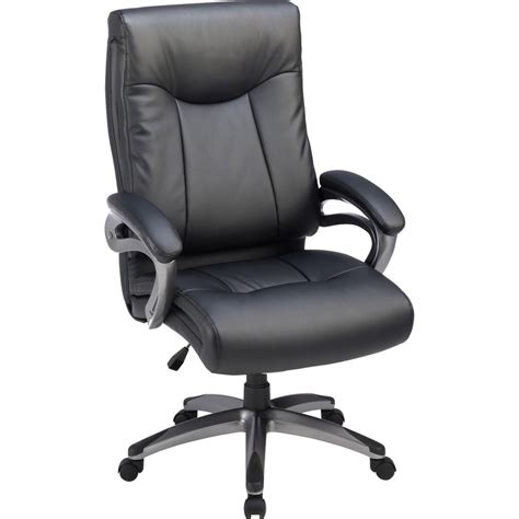 High Back Leather by Lorell High Back Executive Chair Padded Arms Gun Metal