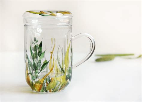 Glass Tea Cup With Infuser And Lid Grass Fields Collection