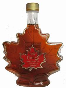 Maple Syrup Glass Leaf Bottle