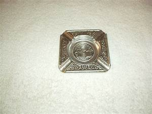 Antique Athens Greece Tin Aluminum Silver Color Ashtray With Raised Details