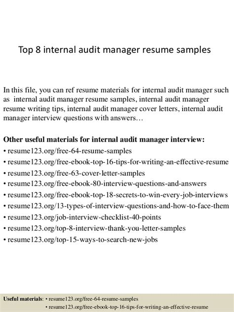 Audit Manager Resume Exle by Top 8 Audit Manager Resume Sles