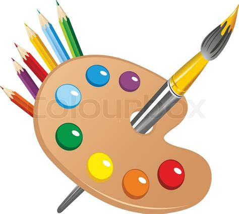 art palette  paint brush  stock vector