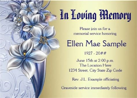 sample funeral invitation templates sample templates