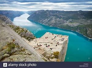 Preikestolen landscape (Pulpit Rock), Lysefjorden, Norway ...
