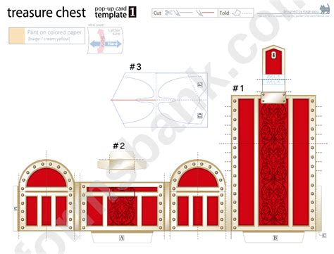 treasure chest pop  card template printable