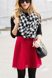 Red skater skirt with tights winter date night outfit