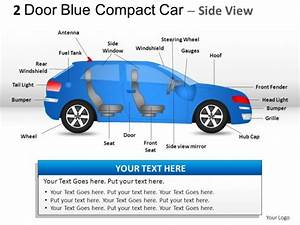 2 Door Blue Compact Car Side View Powerpoint Presentation