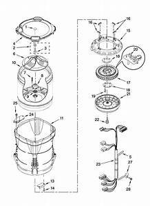 Motor  Basket And Tub Parts Diagram  U0026 Parts List For Model