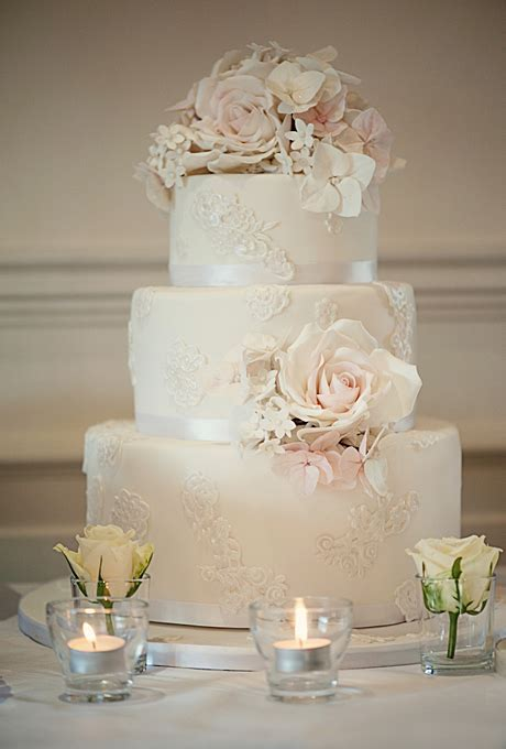 Ivory Wedding Cake with Lace Appliques   Wedding Cakes
