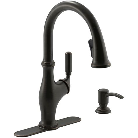 kohler worth single handle pull  sprayer kitchen faucet  oil rubbed bronze   sd bz