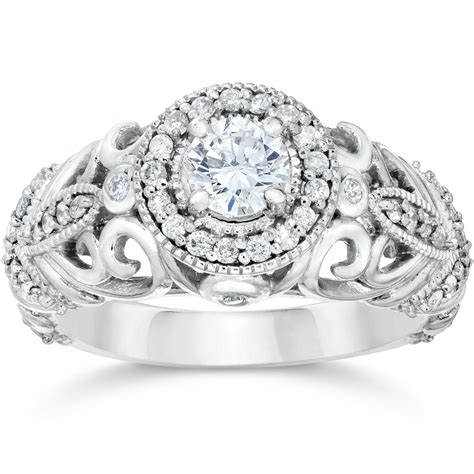 3 4ct vintage diamond engagement ring 14k white gold ebay