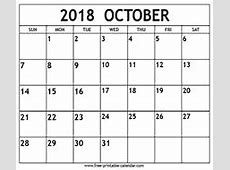 October 2018 calendar template Freeprintablecalendarcom